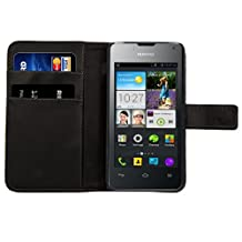 kwmobile Elegant synthetic leather case for the Huawei Ascend Y300 with magnetic fastener and stand function in black