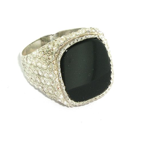 Sterling Silver Mens Large Cushion Shape Onyx Ring - Sizes 7.5 to 12 Available - Large Onyx