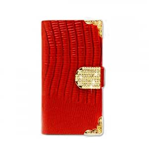 Red Crocodile Skin Leather Card Wallet Phone Case For Samsung Galaxy S3 III + FREE PRIMO DESIGN CARTOON FOLDABLE TOTE BAG