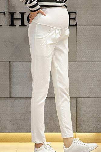 Fanvans White Lounge Maternità Lino Di Pantaloni Donna A Pantaloni wHScywOqr