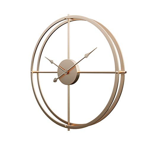 RuiyiF 24 Inch Silent Wall Clock Non Ticking Battery Operated, Oversize Farmhouse Rustic Metal Vintag Large Decorative Living Room Bedroom Office Kitchen (Gold) (Sale Oversized Clock Wall)