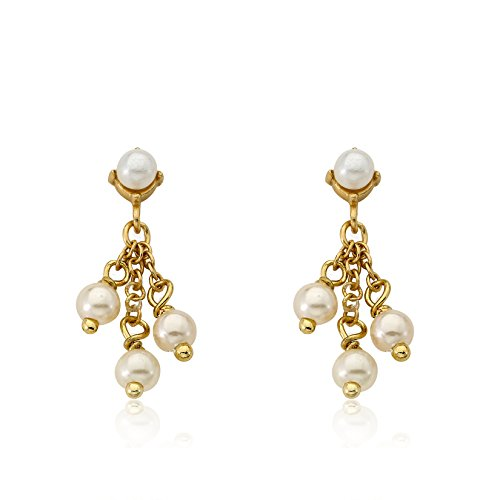 Little Miss Twin Stars Little Miss Flower Girl 14k Gold-Plated Pearl Cluster Earring/