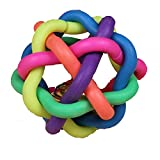 FTXJ 1PCS Colorful Soft Bell Plastic Ball Durable Fetch Chew Pet Dog Toy (6CM, Colorful)