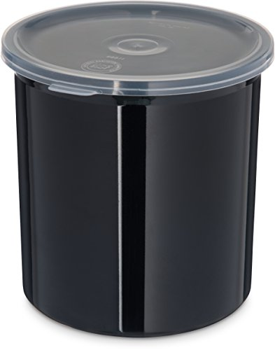 - Carlisle 030103 Solid Color Commercial Round Storage Container with Lid, 1.2 Quart Capacity, Black