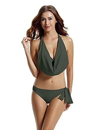zeraca Hipster Halter Cowl Neck Bikini Bathing Suits (S6, Asphalt)