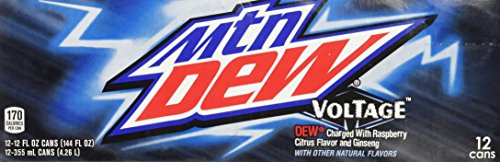 Mountain Dew Voltage Raspberry Ginseng Citrus Soda 12 Ounce 12 Cans