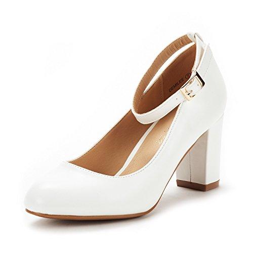 Demilee White Pu High Chunky Heel Pump Shoes Size 8.5 B(M) US (Bridal Wedding Pumps)