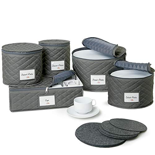 Quilted China Storage Containers - 5-Piece Dish and Cup Storage Set for Storing, Protecting or Transporting Your Cherished Dinnerware