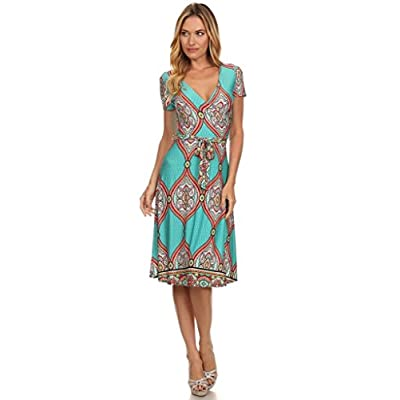 (Plus Size) Printed Scoop Neck 3/4 Length Sleeve A-Line Dress (MADE IN U.S.A)