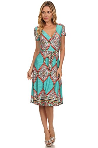 (Plus Size) Printed V-Neck Short Sleeve Waist Belted Midi Dress (MADE IN U.S.A)