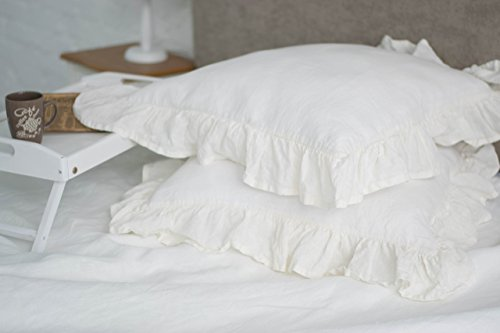Shabby chic eyelet ruffled sham, multiple size options, in off-white, white and natural linen color