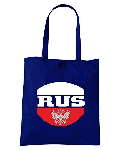 T-Shirtshock - Bolsa para la compra T0726 RUSSIA calcio ultras Azul Marino