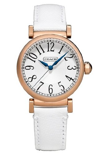 Coach Madison' Round Saffiano Leather Strap Watch, 32mm