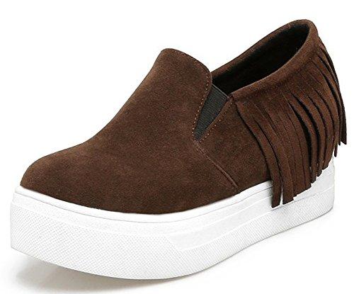 Idifu Kvinna Mode Kantad Mitten Kil Klackar Hiss Inne Plattform Sneakers Brun