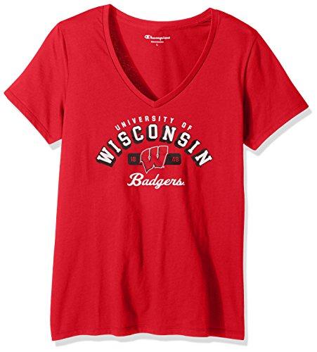 - Champion NCAA Women's University Short Sleeve Tagless V-Neck Tee Wisconsin Badgers Small