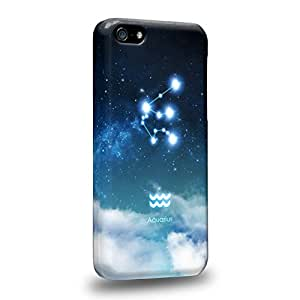 Case88 Premium DesignsThe 12 Zodiacal Constellations 3D Space Blue Aquarius zodiacal signs Protective Snap-on Hard Back Case Cover for Apple iPhone 5c