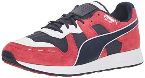 PUMA Men's RS-100 Sneaker, Peacoat-Ribbon RED-P, 10.5 M - Peacoat Suede