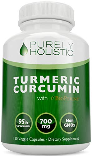 Purely Holistic Turmeric Curcumin 120 Veg Caps with BioPerine, 700mg, 95 Curcuminoids