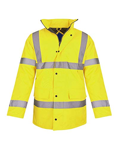 - Shelikes Hi Vis Viz Visibility Parka Workwear Security Safety Fluorescent Hooded Padded Waterproof Work Wear Jacket Coat [Yellow M]