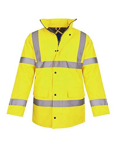 - Shelikes Hi Vis Viz Visibility Parka Workwear Security Safety Fluorescent Hooded Padded Waterproof Work Wear Jacket Coat [Yellow M]
