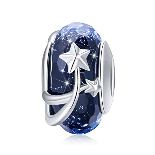 LeeFeel Sterling Silver Star Glass Beads European Royal Blue Murano Glass Bead Charms Fit Charm Bracelets Bangles DIY Jewelry