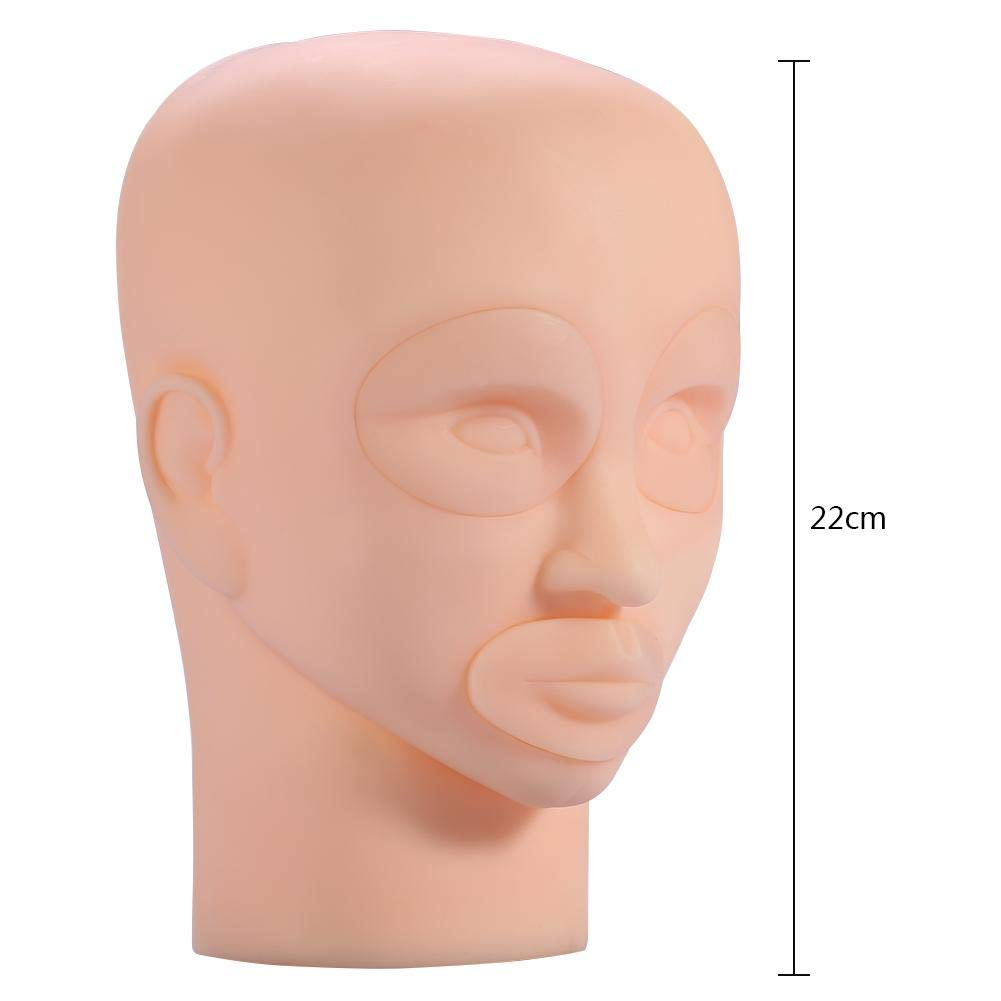 Removable Silicone Makeup Eyebrow Lip Tattoo Practice Training Mannequin Head Model Makeup Cosmetology Mannequin Head for Eyelash Extension Lip Face Makeup Mannequin Training Head
