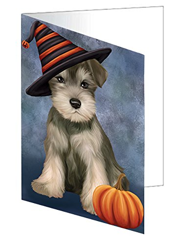 Happy Halloween Schnauzer Dog Wearing Witch Hat with Pumpkin Note Card (10)