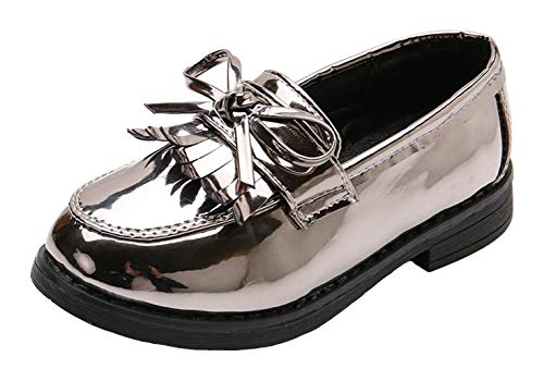 WUIWUIYU Girls' Patent Leather Slip-On Penny Loafers Flats Bow Tassel Oxfords Moccasins Dress Shoes by WUIWUIYU