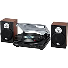 Jensen Modern JTA-325BTW 3-Speed Bluetooth Stereo Turntable with Modern Wooden Stereo Speakers Supports Vinyl to MP3 Recording, USB/MP3 Playback, Pitch Control,Headphone Jack, Aux (Limited Edition)