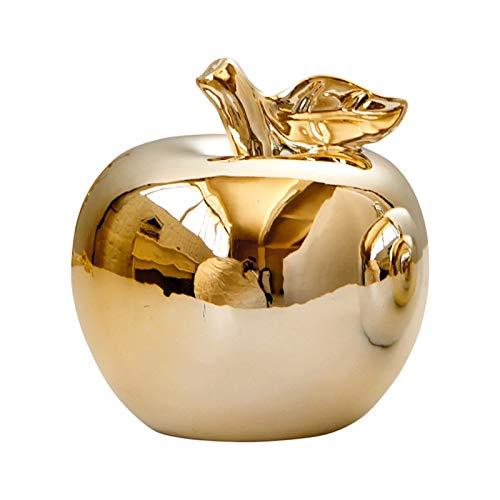 Chutoral Statue décorative en céramique en forme de pomme argentée/dorée pour cuisine, salle à manger (doré)