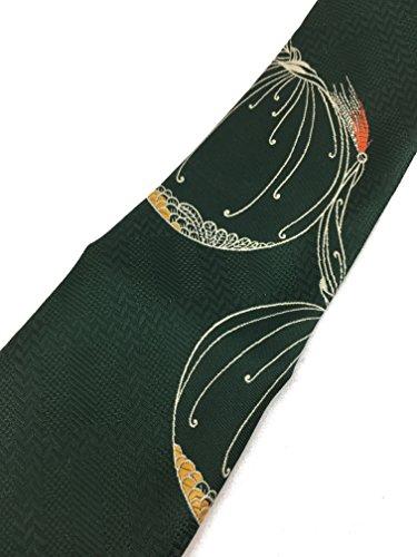 Art Nouveau Vintage Tie - Jacquard Weave Wide Kipper Necktie Green