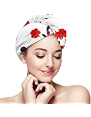 Floral Cute Retro Microfiber Hair Towel Wrap for Women, Super Absorbent Quick Dry Hair Turban for Drying Curly, Long & Thick Hair