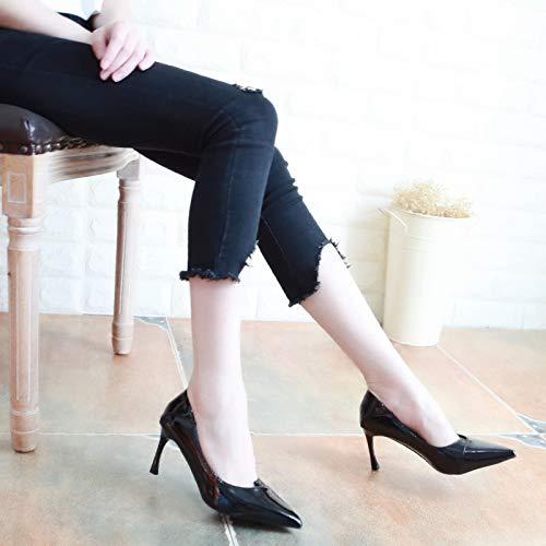 KPHY Damenschuhe/Herbst Sexy Lack 7Cm Hohen Leicht Ferse Schuhe Starken Kopf Leicht Hohen Dünn und Dünner Damenschuhe Flache Schuhe.34 Aprikosen-Farbe  - ce3819