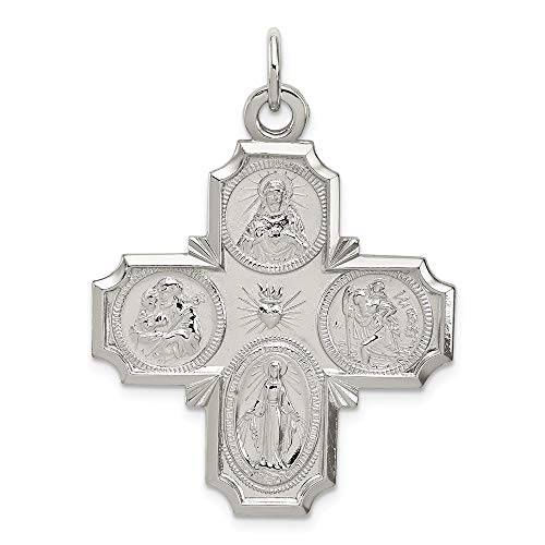 925 Sterling Silver 4 Way Reversible Medal Pendant Charm Necklace Religious Four Fine Jewelry Gifts For Women For Her