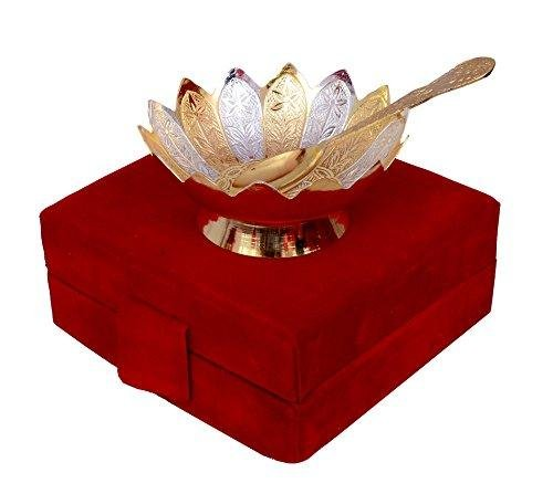 TUZECH Gold & Silver Plated Brass Lotus Flower Shaped Bowl 4