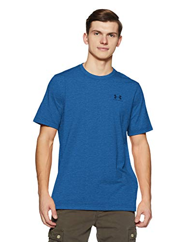 Under Armour Men's Charged Cotton Left Chest Lockup T-Shirt, Moroccan Blue Medium /Academy, Large