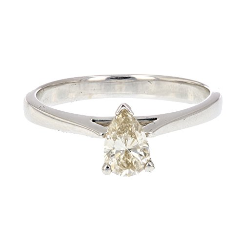 amond Solitaire Ring 14K White Gold Size 7.5 (Champagne Diamond Solitaire)