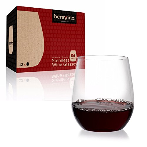 12 Plastic Wine Glasses   18 oz.   Stemless Crystal Clear Cups   Shatterproof Disposable Tumblers   Highlights Red & White Wine, Moscato, Merlot, Cabernet, Sirah [Berevino Collection] (Best Red Moscato Wine)