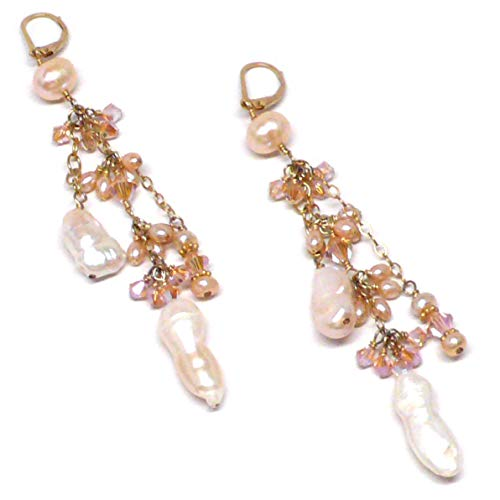Cluster Drop Cultured Freshwater Pearl Crystal Cascade Statement Earrings Peach Mauve White Gold-Filled