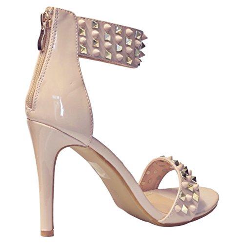 Styles on de Sandalias damas Beige Rock de mujeres tacón para moda Nuevas 6628 Parte alto tachonada Tamaño Zapatos 15qwdHxd