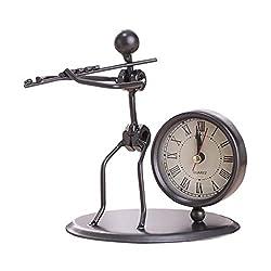 Pinleg Small Alarm Clock, Creative Iron Mini Metal Small Alarm Clock Electronic Stainless Steel Vintage Personality Clock Home Decor Small Lightweight Travel (G)