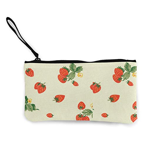 Oomato Canvas Coin Purse Sweet Strawberry Cosmetic Makeup Storage Wallet Clutch Purse Pencil Bag -