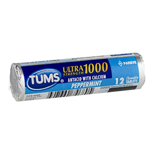 Tums Regular Strength, Peppermint, 12-Count Rolls (Pack of 12) ()