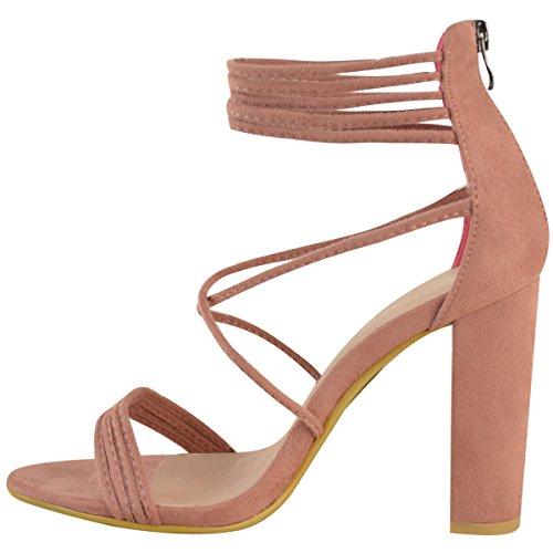 Fashion Sete Womens Strappy Block Tacco Alto Pigre Scarpe Da Sera Chunky Dimensione Pastello Rosa Finto Pelle Scamosciata