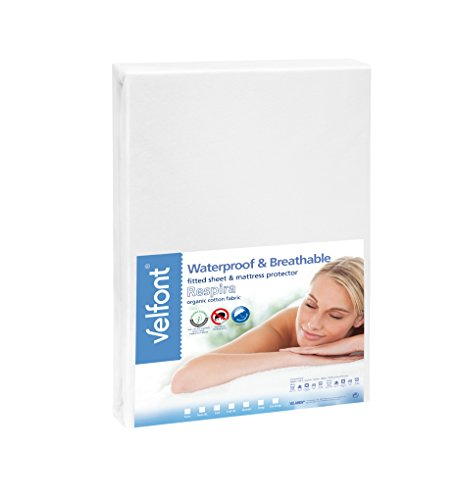 Velfont Premium 2 in 1-100% Organic Combed Cotton Waterproof and Breathable White Fitted Sheet & Mattress Protector - Full Size