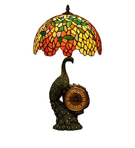 Tiffany Style Baroque Stained Glass Decoration Table Lamp Wisteria Peacock Metal Base Retro Bedroom Study Desk Lighting Lamps 110-240V