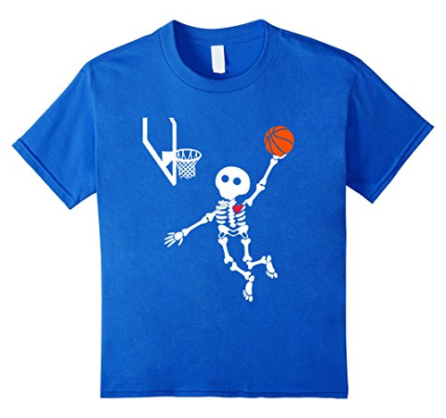 Kids basketball skeleton halloween shirt 12 Royal Blue - Basketball Halloween Costumes