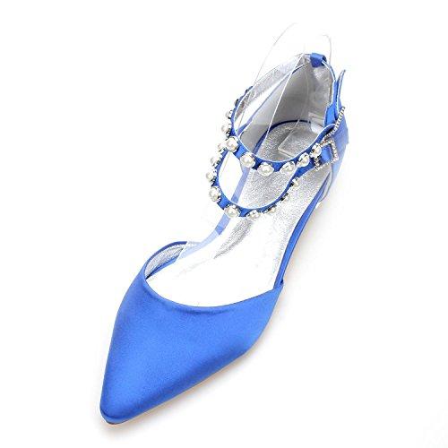 L@YC Women's Wedding Shoes 5047-11 Pearls Flat Shoes Buckle Satin Evening Bridal Party Court/Multi-Color customization Blue K0mTBhddxX