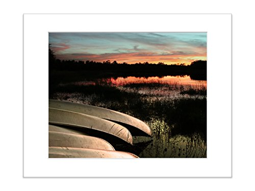 Nautical Decor Sunset Rowboats Rustic Lake House Boat Wall Decor, 8×10 Matted Print