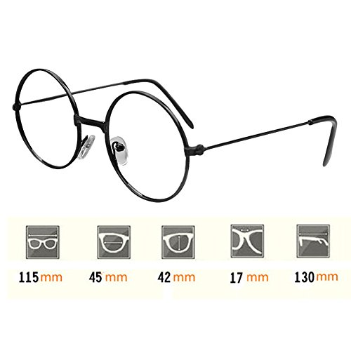 Cadre de lunettes rondes pour enfants - Lunettes enfants Geek / Nerd Retro Reading Eyewear Pas de lentilles pour filles Garçons - Juleya Argent